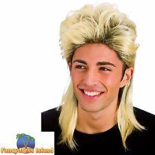 Blonde 80's Long Mullet Jason Donovan Scott Wig Adult Mens Fancy Dress Costume