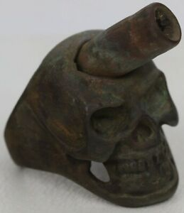 Unique SOLDIER's Ring SKULL Bullet WWII ww2 or WWI wwI Trench ART Bronze Steel