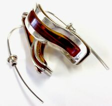 Vintage Very Large Sterling Silver & Amber Set Modernist Style Hook Earrings