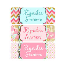 School Name Labels, Waterproof, Daycare Labels, Camp, Pink, Mint, Butterflies