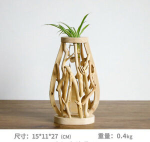Handwork Wooden Solid Flower Pot Vase Creative Glass Floral Container Home Deco