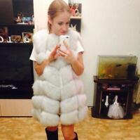Women's Real Vulpes Fox Fur Vest Winter Gilet Thick Waistcoat Sleeve Jacket Coat