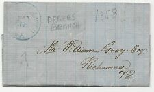 ** US Stampless Cover, Drakes Branch, VA, 5/17/1858, Blue CDS