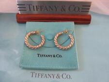 Vintage Tiffany & Co. Hoop Twisted Rope 18K Gold Sterling Silver  Earrings Large