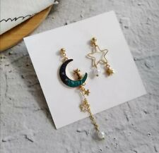 Blue Moon Star gato pendientes asimétrico, Chapado en Oro Perla, Elegante Casual Baile de graduación