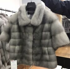 100% Natural Real Mink Jacket Sapphire Gray Size S