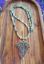 Mala Beads Amazonite & Aventurine Filigree Leaf Yoga & Meditation Necklace ♡