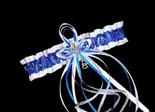 Sparkle PLUS SIZE White & Royal Blue Glitter GARTER Prom Wedding Bridal Lingerie