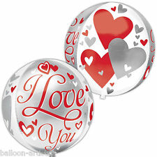 """16"""" I LOVE YOU Hearts Valentine's Day Party Globe Orb Ball Shape Foil Balloon"""