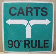 Vintage Country Club Golf Course Sign CARTS 90degree RULE keep carts in rough