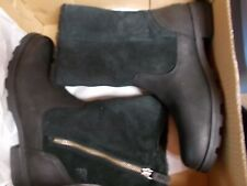 NIB Womens 10 Sorel Emelie Foldover Black Suede Leather Waterproof Boots $170