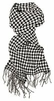 Women's Men's Cashmer feel Black/White Houndstooth Scarf Neck Warmer Wrap