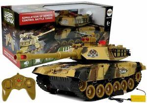 RC Panzer Fernsteuerung Kampfpanzer 2,4GHz Sound LED Sand Tarn Modellbau 45CM