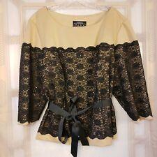 Alex Evenings Women's Sz 3X Lace Sequin Contrast Formal Top Waist Sash 2 Colors