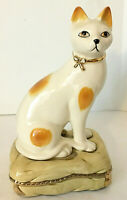 "Andrea by Sadek Cat on Cushion Figurine 8.5""H 4.5""W Japan Beige Ceramic EUC"