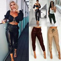 Women's Ladies Faux Leather High Waist Joggers Jogging Bottoms Pants Trousers
