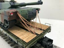 MTH Premier 60' Flat car with 2 m1a ABRAMS Camo Tanks Chained wood deck CUSTOM
