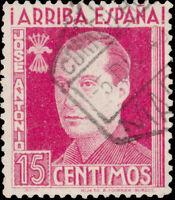 ESPAGNE / SPAIN 1939 Sello Benéfico 15c rosa lilaceo José Antonio usado MADRID