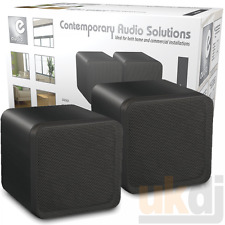 "Pair Of Black 4"" ABS Bookshelf Cube Speakers 80W HiFi Surround Sound Home Cinema"