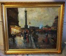 Large Impressionist Original Oil on Canvas: London Scene? signed in Golden Frame