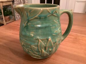 """Vintage Pottery McCoy Small Pitcher 5"""" green Water Lily Lotus 124 Antique"""