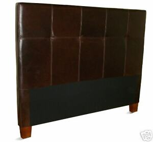 Queen Size Coffee Brown Genuine Leather Headboard for Bed, NEW!
