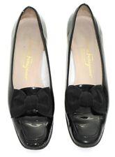 Salvatore Ferragamo Ladies Shoes Black Patent Leather 8 1/2 A4 Vintage 1980's