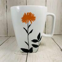Ty Pennington Style Orange   Floral Flower Coffee Cup Mug  Black Leaves Preowned
