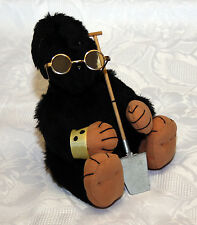 Künstlerteddy Teddybär Maulwurf Bär mit Brille und Schaufel - tolle Handarbeit