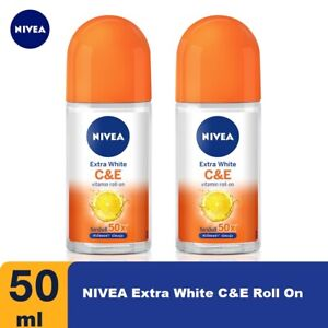 2x 50ml NIVEA Extra White Vitamin C+Vitamin E Under Arms Roll-On Sweat,Deodorant
