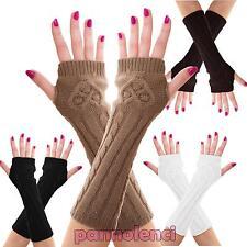 Guanti donna tricot senza dita invernali lunghi caldi scalda mani nuovi 803