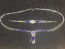 Beaded Necklace & Bracelet Lapis Sterling Silver Multi Strand