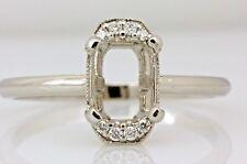 platinum diamond engagement ring semi mount sz8 engraved estate emerald center