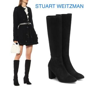 Stuart Weitzman Livia 80 Stretchy Knee High Boots Heel Black Suede US 9.5