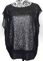 Eileen Fisher Womens Silk Sequins Cap Sleeve Top Size Medium Black Semi-Sheer