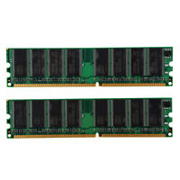 2x1GB DDR 400 MHz PC3200 PC3200U Non-ECC Desktop PC DIMM Memory RAM 184-pin V4N9