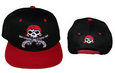 Pirate Skull Guns Baseball Caps Hats Flat Brim Snap Back Embroidered (ECapM82)