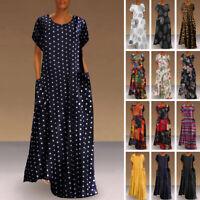 Womens Short Sleeve Polka Dot Long Dress Loose Baggy Kaftan Maxi Dress Sundress