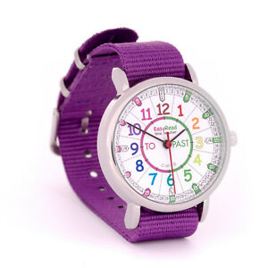 EasyRead Time Teacher Kids Watch Tell Time Purple Band Coloured Face Free Post