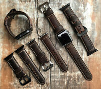 For Apple Watch Series 5 4 3 42/44/38/40mm Brown Litchi Grain Leather Strap Band