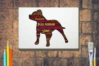 Staffie Terrier Word Art Canvas A4 A3 A2 A1 Mothers Day Gift Personalised Option