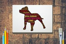 More details for staffie terrier word art canvas a4 a3 a2 a1 mothers day gift personalised option