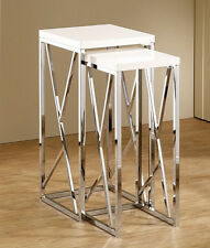 2 PCS NESTING TABLES CHROMED BASE WITH HIGH GLOSS WHITE TOP