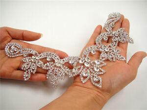 Rhinestone Dancing Dress Applique Crystal Wedding Trim Costume Neckline Motif