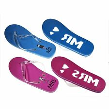 a008911471d0 Mr   Mrs Honeymoon Blue   Pink One Size Flip Flops UK Mens 9-11