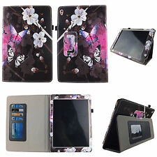 WHITE FLOWER BUTTERFLY FOLIO CASE IPAD 2/3/4 SLIM FIT POCKET TABLET STAND COVER