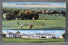 VTG Westbrook Country Club Golf Course Mansfield Ohio RPPC Real Photo Linen 1948