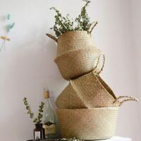 Foldable Basket Plant Pot Woven Seagrass Wickerwork Hanging Planter Home Gardens