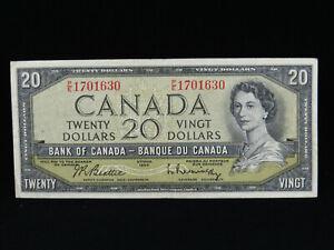 1954 $20 Dollar Bank of Canada Banknote Bill P/E 1701630 Beattie Rasminsky F-VF