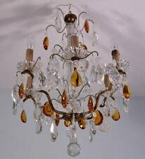 French Antique Bronze & Crystal Chandelier Hanging Lamp with Amber Crystals